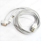 8pin 30pin Micro USB Sync Data Charger Cable For iPhone5 4 Galaxy SmartPhone