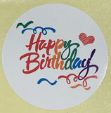 1 Bogen / 10 Sticker - Happy Birthday (Bunt)