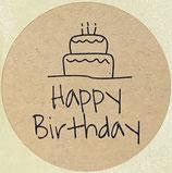 1 Bogen / 10 Sticker - Happy Birthday (Kuchen)