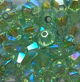 5328 Bicone (50) - 4mm Chrysolite - AB2x