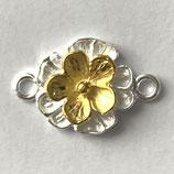 925 Link (1) - 10mm, Blume - gold/silber
