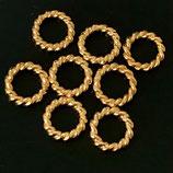 925 Biegeringe (1) - 5x1mm, vergoldet - verdreht geschlossen