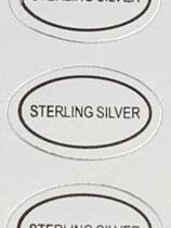 1 Bogen / 100 Sticker - Sterling Silver (Oval)