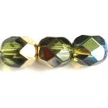 Firepolish Round (50) - 6mm Olive/Gold - Rainbow