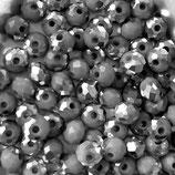 Rondelles (100) - 3.6x4.4mm Opaque - Grey/Silver