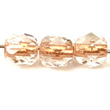 Firepolish Round (100) - 4mm Crystal - Rust Lined