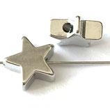 Perle Stern (1) - 7x5mm, silbrig