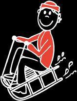 Mann Schlitten Sticker