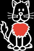 Tier Katze rote Brust Sticker