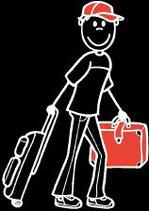 Mann Ferien-Reisen Sticker (Aufkleber)