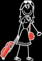 Frau Reisen-Ferien Sticker (Aufkleber)