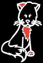 Tier Katze rotes Ohr Sticker