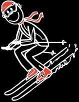 Teenager Knabe Skifahren Sticker