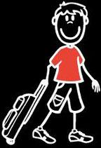 Knabe Ferien-Reisen Sticker (Aufkleber)