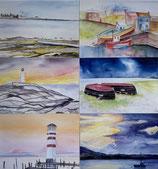 6er Kartenset mit Einlageblatt und Kuvert (3x Leuchtturm 3x Boote)