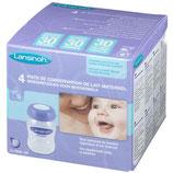 4 pots de conservation de lait maternel