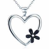 """Halskette mit Herz-Anhänger """"flower"""" mit Zirkonia-Steinen"""