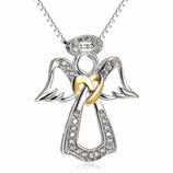 Halskette mit Engel-Anhänger & Zirkonia-Steinen und vergoldetem Herz