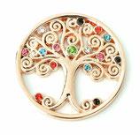 """Coin """"Baum des Lebens"""" roségold mit Strass-Steinen"""