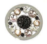 "Coin ""Black center"" mit Strass-Steinen"