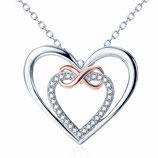 """Halskette mit """"double heart""""-Anhänger & Zirkonia-Steinen und roségoldenem Unendlichkeitszeichen"""