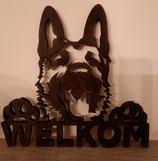 Welkomsbord met hondenkop