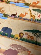Tonkarton gelb Dschungeltiere in Reihen
