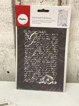 Siebdruck Schablone A5 Vintage Poesie Schrift