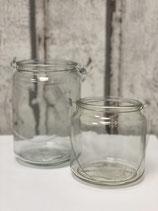 Kerzenglas mit Henkel versch.
