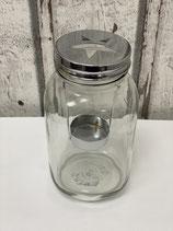Kerzenglas mit Teelichthalter