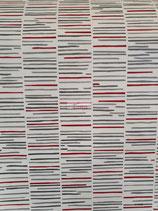 P+S 13384-20 Vliestapete Querstreifen rot weiß silber