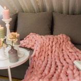 Chunky Knit Decke Rosa