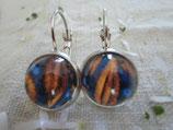 Boucles d'oreilles cabochons 12 mm sans nickel, motif bleue et feuille  .