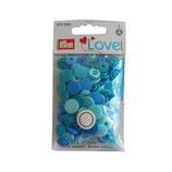 30 PRYM Love Drucknöpfe blau mix 12,4mm