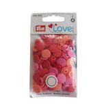 30 PRYM Love Drucknöpfe rosa-orange-rot mix 12,4mm