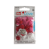 30 PRYM Love Drucknöpfe Herz mix weiß-rosa-rot 12,4mm