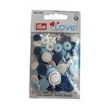 30 PRYM Love Drucknöpfe weiß-hellblau-dunkelblau mix 12,4mm