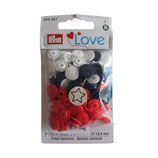 30 PRYM Love Drucknöpfe Sterne weiß-blau-rot mix 12,4mm
