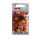 21 PRYM Love Drucknöpfe Blume gelb-orange-rot 13,6mm