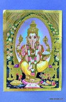 Geprägtes Bild mit Golddruck Ganesha .Hinduistischer Gott der die Hindernisse wegräumt 13.x 18 cm