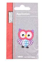 Applikation Eule Blau/Pink mit lila Flügeln