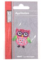 Applikation Eule pink mit grünen Flügeln