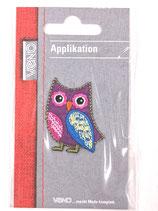 Applikation Eule Violett mit blauen Flügeln