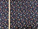 Feincord Blumen auf dunkelblau