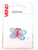 Applikation Schmetterling türkis/pink