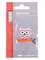Applikation rosa Eule auf Ast