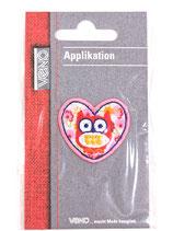 Applikation Eule rosa im Herz