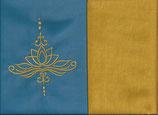 Lotuskissen Blau + Ockergelb