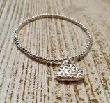 Kleines Blume des Lebens Herz an 925 Silberperlen Armband