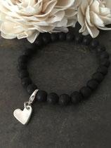 Herz an schwarzem Holzperlenarmband